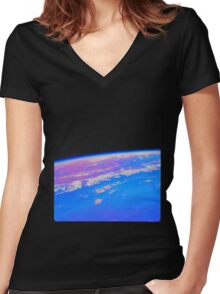Pale Pink Dot Women's Fitted V-Neck T-Shirt