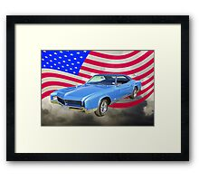 1967 Buick Riviera With United States Flag Framed Print