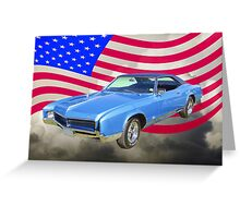 1967 Buick Riviera With United States Flag Greeting Card