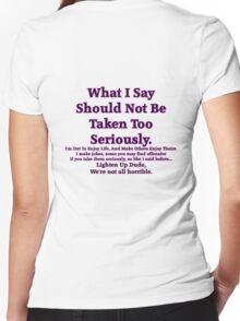 Lighten Up Dude. Women's Fitted V-Neck T-Shirt