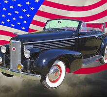 Black 1938 Cadillac Lasalle With United States Flag by KWJphotoart