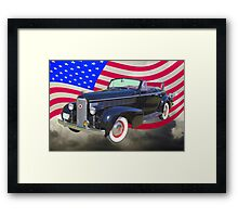 Black 1938 Cadillac Lasalle With United States Flag Framed Print