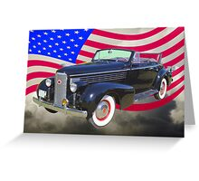 Black 1938 Cadillac Lasalle With United States Flag Greeting Card