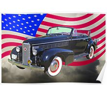 Black 1938 Cadillac Lasalle With United States Flag Poster