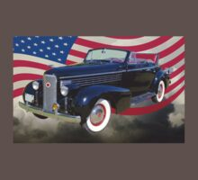 Black 1938 Cadillac Lasalle With United States Flag One Piece - Short Sleeve