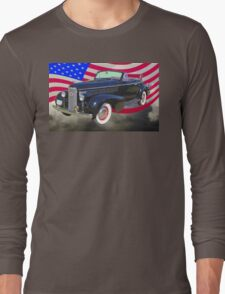 Black 1938 Cadillac Lasalle With United States Flag Long Sleeve T-Shirt