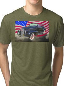 Black 1938 Cadillac Lasalle With United States Flag Tri-blend T-Shirt