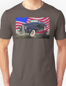 Black 1938 Cadillac Lasalle With United States Flag Unisex T-Shirt