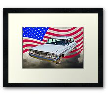 1964 Ford Galaxy Station Wagon And American Flag Framed Print
