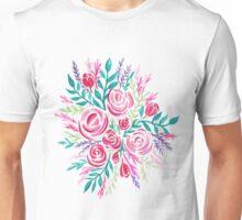 Pink Tea Rose Bouquet - Watercolor Illustration Unisex T-Shirt