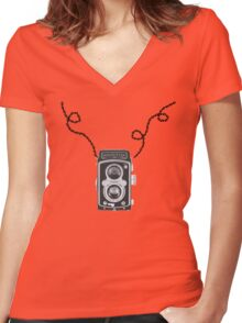 Retro Rolleiflex Design Women's Fitted V-Neck T-Shirt