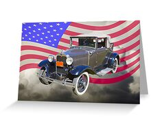 Model A Ford Roadster With American Flag Greeting Card