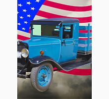 1929 Blue Chevy Truck And American Flag Unisex T-Shirt