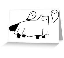 Blanket Ghost Black Cat Greeting Card