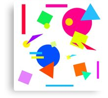 Coloured Retro (Large) Shapes 1980's - White - 80s 80's 1980s 1980's 1980 Classic Throw Back Canvas Print