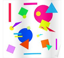 Coloured Retro (Large) Shapes 1980's - White - 80s 80's 1980s 1980's 1980 Classic Throw Back Poster