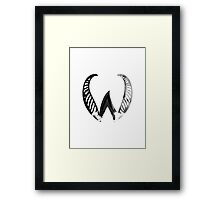 Alphabet Letter W Abstract Watercolour white Framed Print