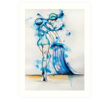 Octopus & Bather Woman Art Print