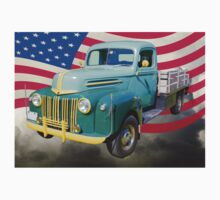 Old Flat Bed Ford Work Truck And American Flag One Piece - Short Sleeve