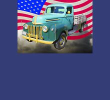 Old Flat Bed Ford Work Truck And American Flag Unisex T-Shirt