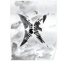 Letter X Alphabet Abstract Watercolour Textured Poster