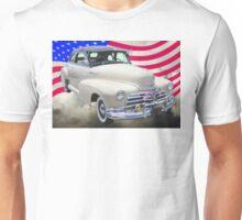 1948 Chevrolet Fleetmaster Car With American Flag Unisex T-Shirt