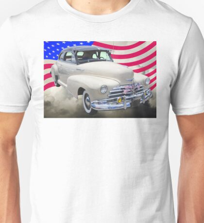 1948 Chevrolet Fleetmaster Car With American Flag Unisex T-Shirt