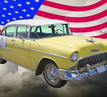 Yellow 1955 Chevrolet Bel Air And American Flag by KWJphotoart