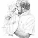 father & baby daughter drawing by Mike Theuer