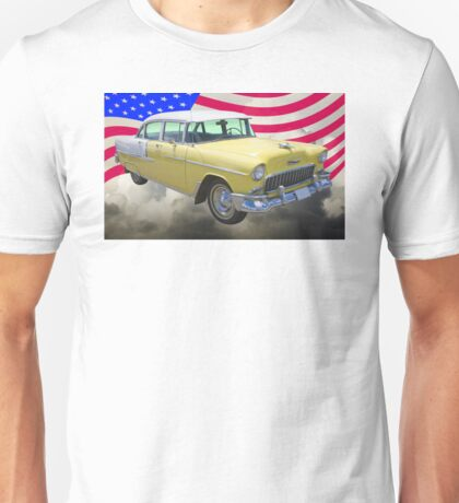 Yellow 1955 Chevrolet Bel Air And American Flag Unisex T-Shirt