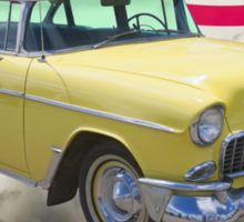 Yellow 1955 Chevrolet Bel Air And American Flag Sticker