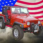 Red Jeep Wrangler Rubicon with American Flag by KWJphotoart