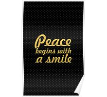 "Peace begins with smile... ""Mother Teresa"" Inspirational Quote Poster"