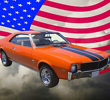 Orange 1969 AMC Javlin Car and American Flag by KWJphotoart