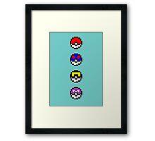 Pokemon Pokeballs Pixel Framed Print