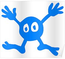 Funny Blue Cartoon Character Poster