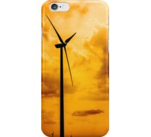 Silhouettes Of Wind Turbines Converting Wind Energy To Electricity iPhone Case/Skin