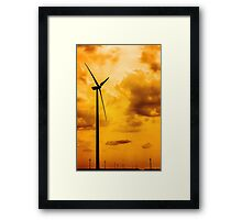 Silhouettes Of Wind Turbines Converting Wind Energy To Electricity Framed Print