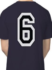 6, TEAM SPORTS, NUMBER 6, SIX, SIXTH, Competition, White on Black Classic T-Shirt