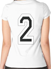 2, TEAM SPORTS, NUMBER 2, TWO, SECOND, Competition, White on Black Women's Fitted Scoop T-Shirt
