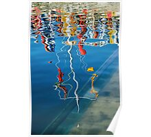 Wibbly Wobbly Flagpole Reflections Poster