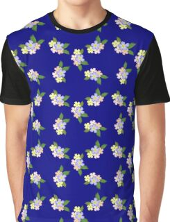 Retro Floral On Blue Graphic T-Shirt