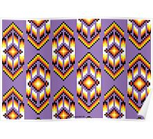 Native American Design Bead Pattern PURPLE Poster