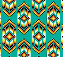 Native American Design Bead Pattern TEAL by Carolina Swagger