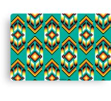 Native American Design Bead Pattern TEAL Canvas Print