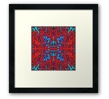 Red psychedelic kaleidoscope pattern Framed Print