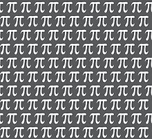 White pi symbols on dark gray math geek pattern by Mhea