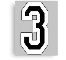 3, TEAM, SPORTS, NUMBER 3, THREE, THIRD, Competition Canvas Print