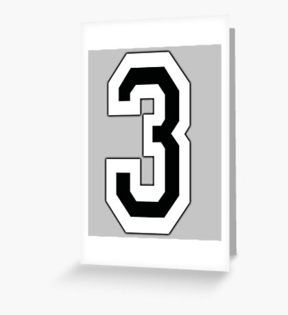 3, TEAM, SPORTS, NUMBER 3, THREE, THIRD, Competition Greeting Card