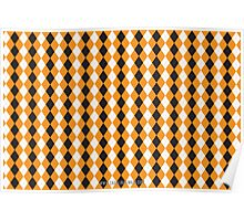 Halloween Cute Pattern Orange Black Argle Poster